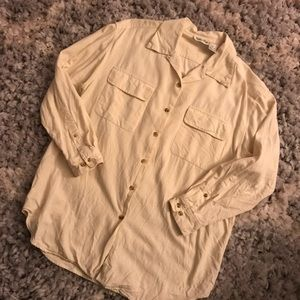Vintage Silk Cream 2-pocket Button Down Shirt